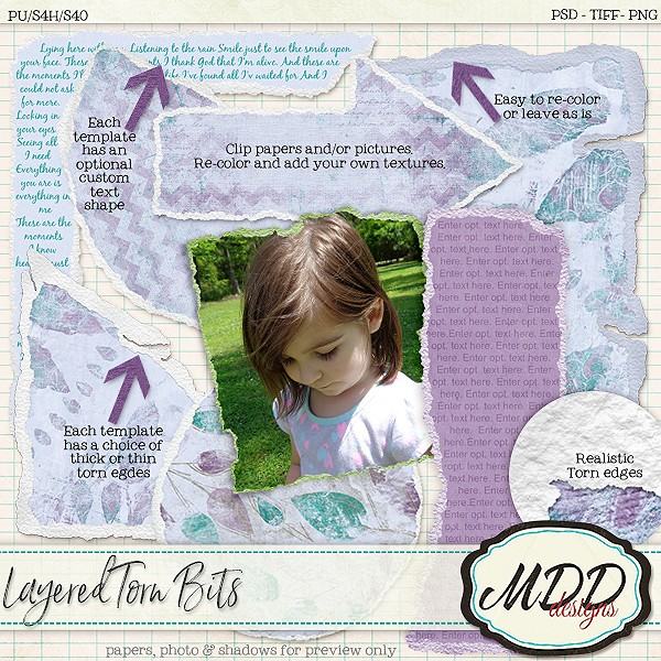 Layered Torn bits by MDD Designs