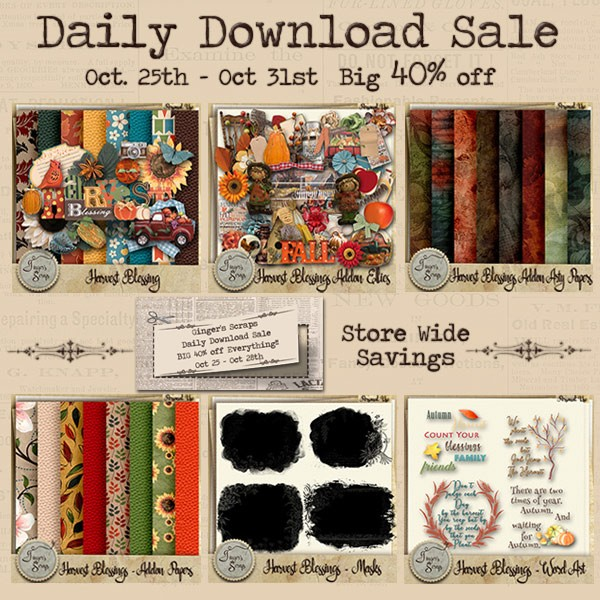 New release Harvest Blessings by Ginger's Scraps and Designer Spotlight sale