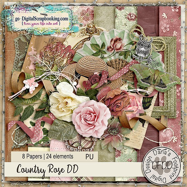 Daily Download Country Rose by Dana's Footprint Digital Designs